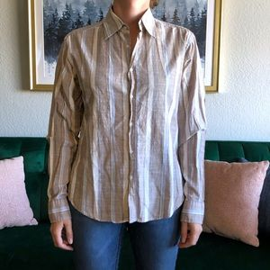 Made in Italy of Benetton Stripe Button Down Shirt